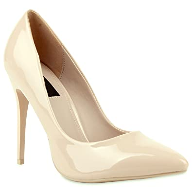 Spitze Damen Pumps Lack Stiletto High Heels Metallic Party Glitzer Abiball Hochzeit  Schuhe 104679 Nude 35