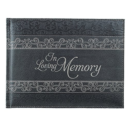 In Loving Memory Guest Book - Memorial Guest Book in Padded Faux Leather w/ Debossed Cover Design - Condolence Book, Funeral Guest Book, Memorial Sign-in Book for Funerals & Memorial Services