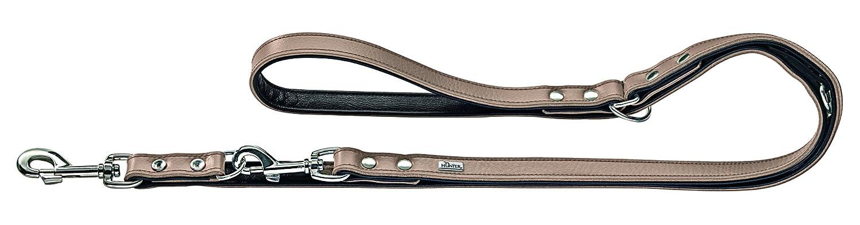 HUNTER Leather Training Leash Basic, Stone Black, 13cm Wide 200cm Long, Nickel Clasp