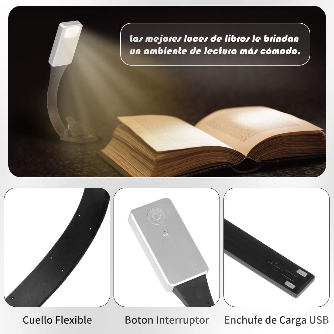 Gocheer Book Light Clip On, cuidado de los ojos Luz de lectura con brillo de temperatura de color ajustable, marcador USB Lamp Clips dobles para Kindle de libros en la noche