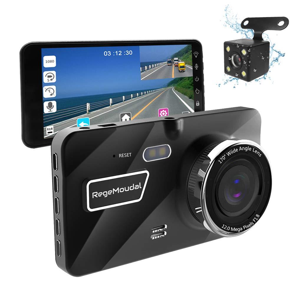 RegeMoudal Dash Cam Telecamera Auto, Camera Car Full HD 1080P, con Grandangolare di 170 Gradi, Auto registratore DVR with G-Sensor, Visione Notturna, Monitor di parcheggio, registrazione in Loop, WDR RR-JLYAM10002-EU