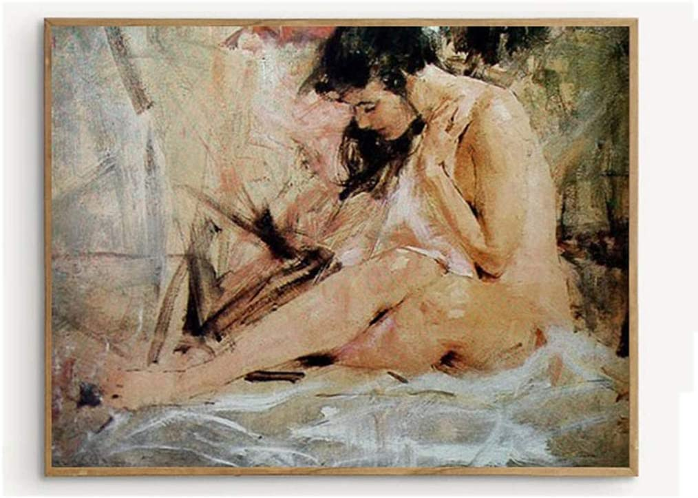Amazon Com Sexy Body Nude Art Oil Painting 100 Hand Painted Abstract Body Art With Female Nude Sitting Sideways Special Decorative Painting For Hotel Entertainment Clubs Ktv 40x60cm 15 7x23 6 Inch Paintings