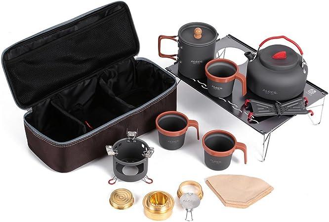 Docooler Accesorios de Camping de Aluminio Utensilios de Cocina para Camping Utensilio al Aire Libre Kit de Pote con Estufa de Alcohol