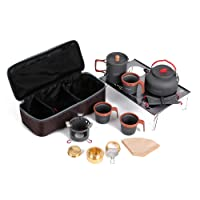 Docooler Alluminum Camping Accessories Hand Coffe Pot Tea Pot Teapot Kettle Cups Alcohol Stove Desk Set Kit for Outdoor Cookout Backpacking