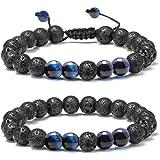 Lava Rock Bracelet - 8mm Stone Tiger Eye Bracelet Lava Rock Bracelet , Stress Relief Yoga Beads Adjustable Bracelet Anxiety A