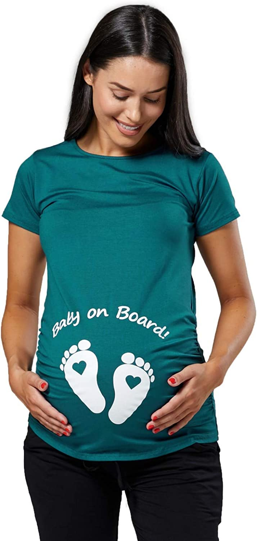 199p Verde Bottiglia, IT 46//48, 2XL Happy Mama Donna Maternity Magliette Premaman Divertente Piedi Neonato