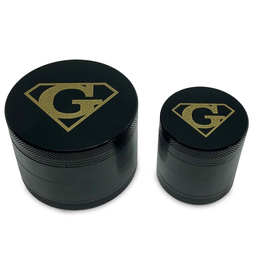 Super Herb Grinders, One Large 4 Piece, 2.5'' and One small 1.55'' 4 Piece of Best Quality Aluminium Black,Herb Grinder for weed,with Pollen, Keef Catcher By Super Grinder.