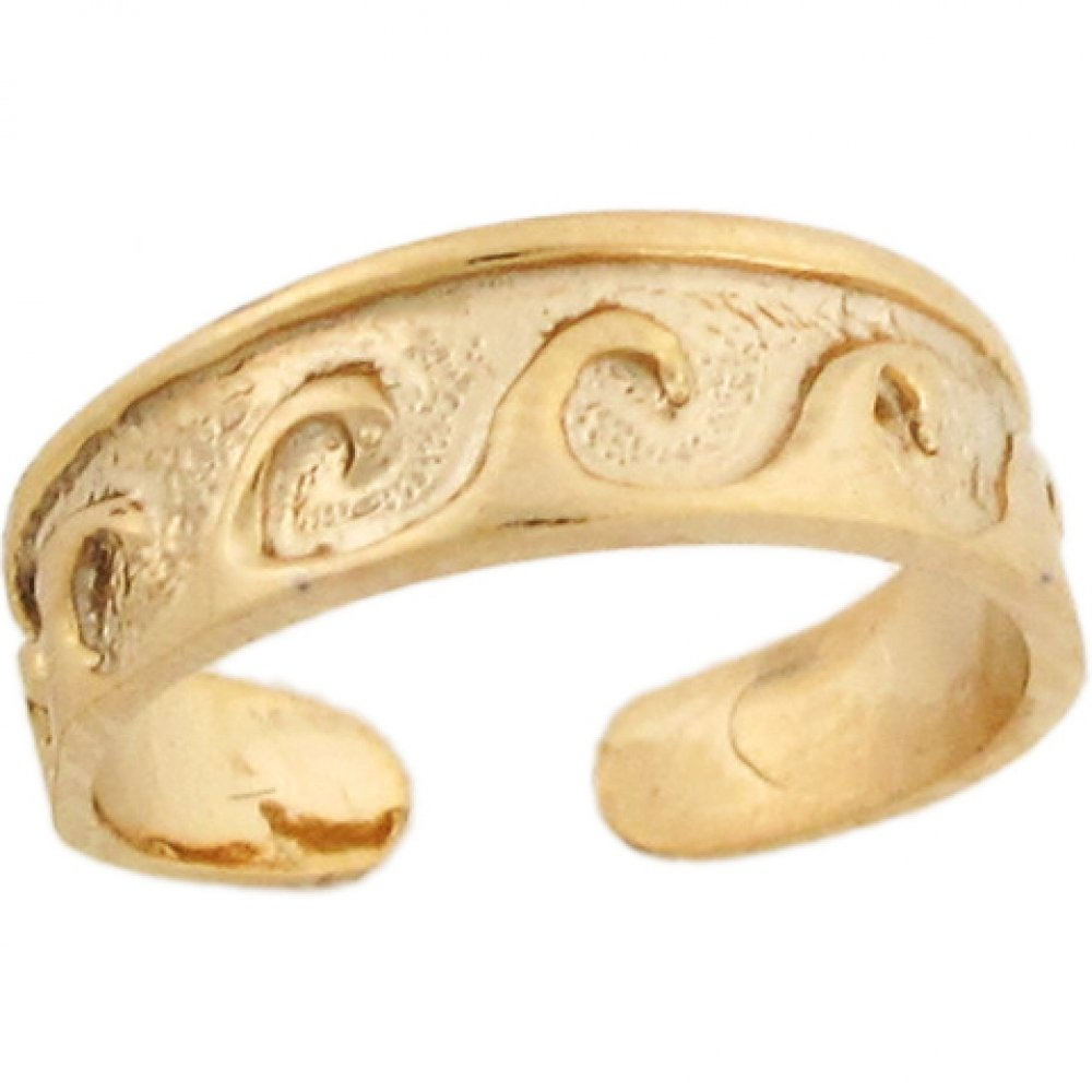 14k Yellow Real Gold Wave Band Designer Womens Toe Ring
