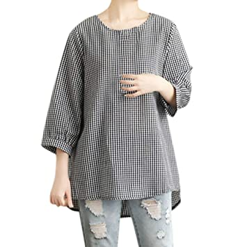 cbaacce7a6f Shirts Blouse for Women 3 4 Sleeve Hosamtel Plaid Loose Summer Casual  Cotton Linen Tunic
