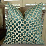 Thomas Collection throw pillow for bed, teal turquoise throw pillow, Geometric Turquoise Teal Throw Pillow, Luxury Velvet Accent Pillow for Couch, INCLUDES POLYFILL INSERT, Made in USA, 11364