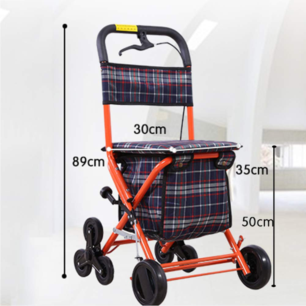 Gravity Caminante para Ancianos con Asiento con 4 Ruedas Y Freno, Asiento Y Bolsa De Transporte, Puede Subir Y Bajar Escaleras,Orange-Advanced: Amazon.es: ...