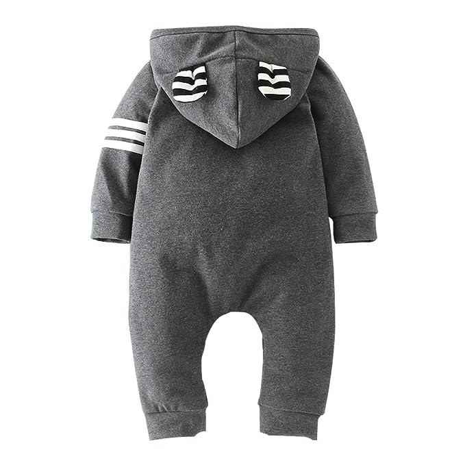 Bebe Niño Mono con Capucha Manga Larga Mameluco Algodón Pelele Pijama Trajes 3-6 Meses: Amazon.es: Bebé