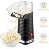 Popcorn Maker, iSiLER Popcorn Machine, 1200W Hot Air Popcorn Popper, Makes 12 Cups of Popcorn Healthy Machine No Oil Needed