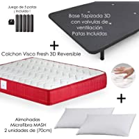 MICAMAMELLAMA Colchón Viscoelástico VISCO Confort Fresh 3D Reversible + Base Tapizada con Patas 26cm + 2 Almohadas Microfibra Mash (150 x 190)