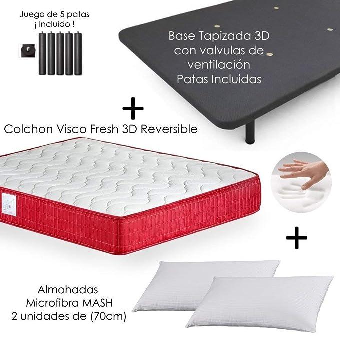 MICAMAMELLAMA Colchón Viscoelástico VISCO Confort Fresh 3D Reversible + Base Tapizada con Patas 26cm + 2 Almohadas Microfibra Mash (150 x 190): Amazon.es: ...
