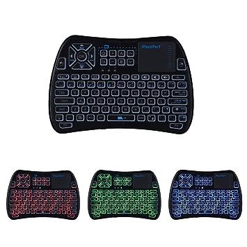 (2018 + Control remoto de TV) iPazzPort RGB Mini teclado inalámbrico con teclado táctil y mouse ...