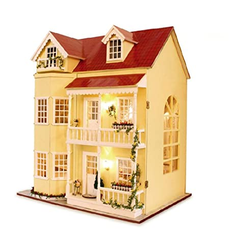 amazon com kisoy romantic and cute dollhouse miniature diy house