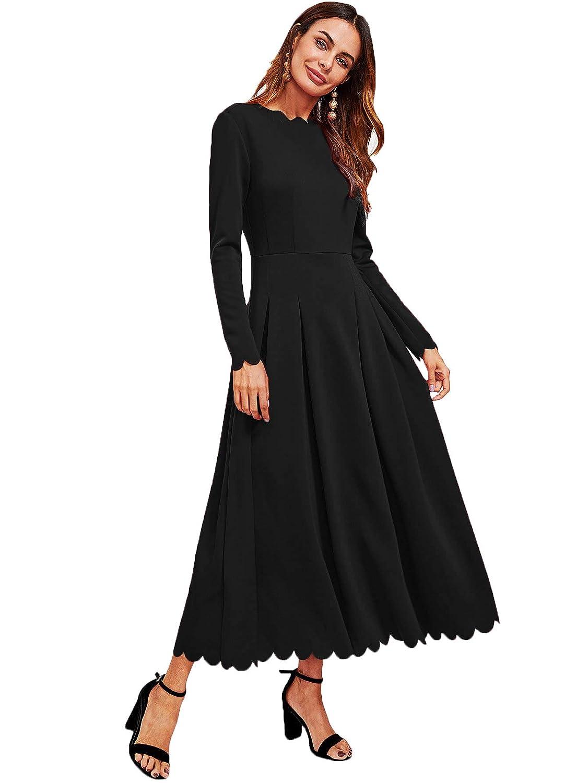 e17fe8c5cd71 Milumia Women's Scallop Trim Neck Edge Long Sleeve Boxed Pleated High Waist Long  Dress at Amazon Women's Clothing store: