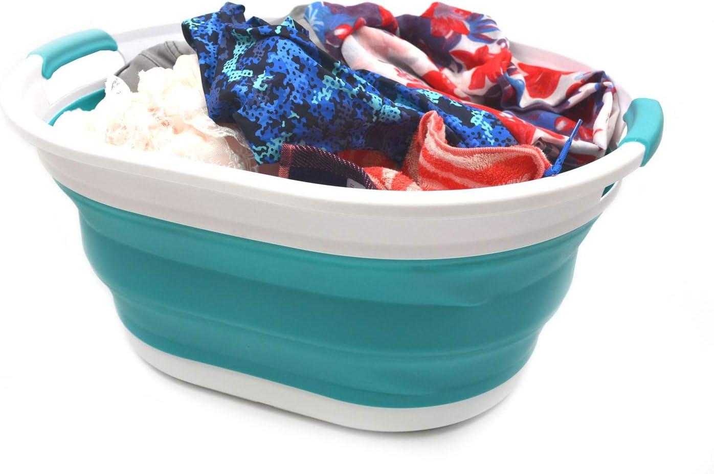 Foldable Storage Container//Organizer Portable Washing Tub Space Saving Laundry Hamper SAMMART Set of 2 Collapsible Plastic Laundry Basket Oval Tub//Basket 2, Bright Blue