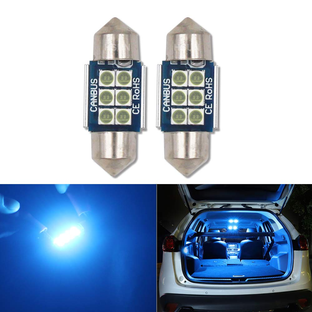 HSUN 36MM Festoon C5W LED Bulb,12V-14V 6411 6413 6418 6461 6486X DE3423 DE3425 6LED SMD3030 Chip for Interior Dome Reading Map Light and more,2 Pack,6000K White