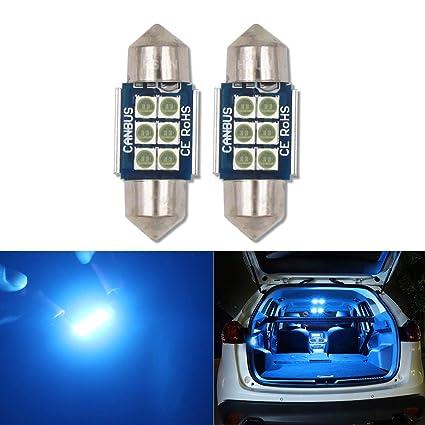 HSUN T10* 31MM Festoon C5W LED Bulbo,12V-14V 3021 3022 3175 6428 6430 DE3425 Canbus Error Free para la luz interior del coche luz de mapa,2 bombillas Azul hielo luz de lectura del domo