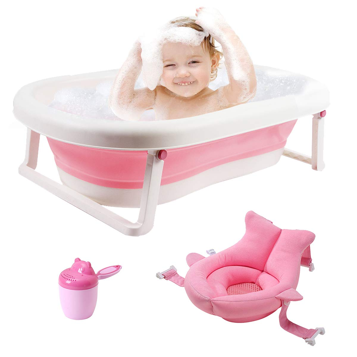 3-in-1 Baby Bathtub Portable Collapsible Toddler Bath tub Foldable Infant Shower Basin Anti Slip Skid Proof with Baby Cushion & Water Rinser Cup for 0-5 Years(Pink tub+Cushion) by UNAOIWN