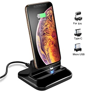 Magnetic Dock Charging Station with 3 pcs Removable Connector, Desktop Charger Docking Stand Base for iOS Xs max X 8 7 6 6s Plus and for Android Phone Type C/Micro USB Devices (Black Base)