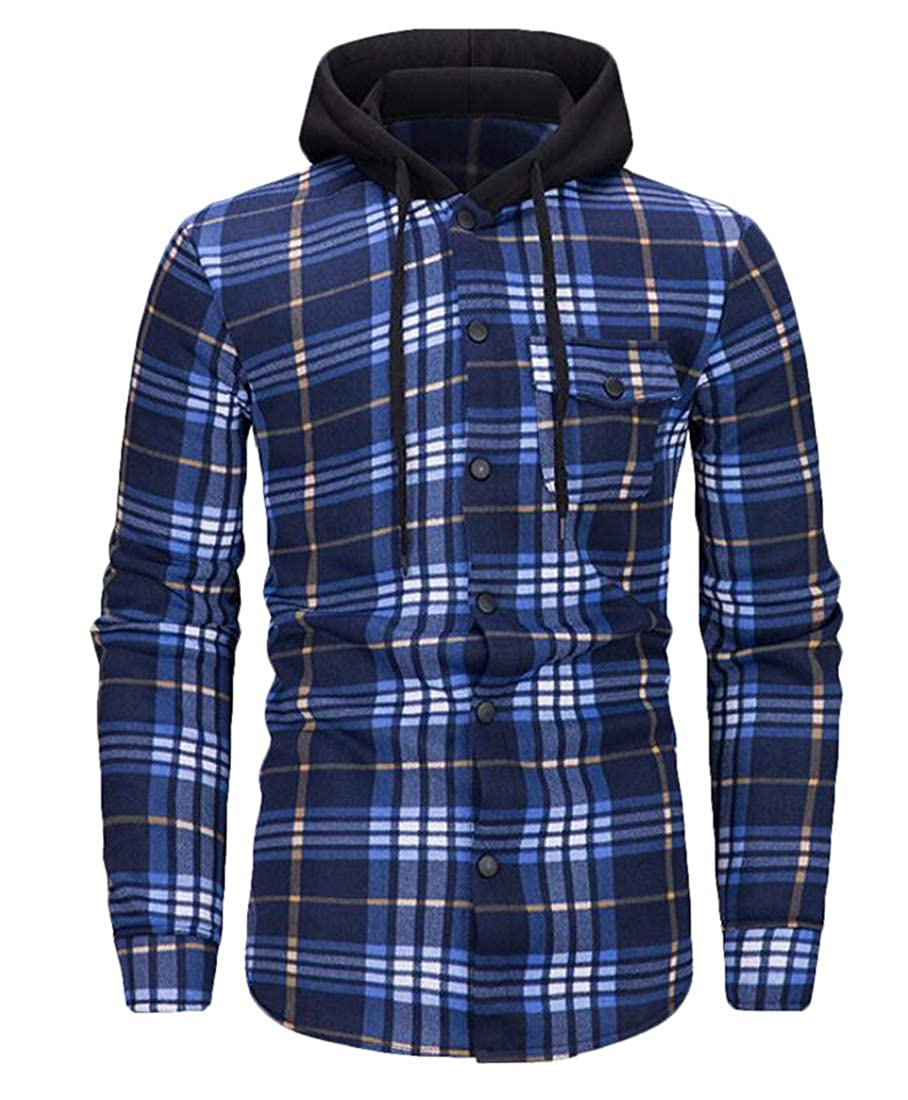 Domple Mens Checked Drawstring Casual Button Up Hoodie Dress Shirts