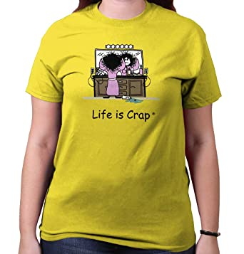 Amazon Com Life Is Crap Bad Hair Day Good Life Funny Shirts Gift