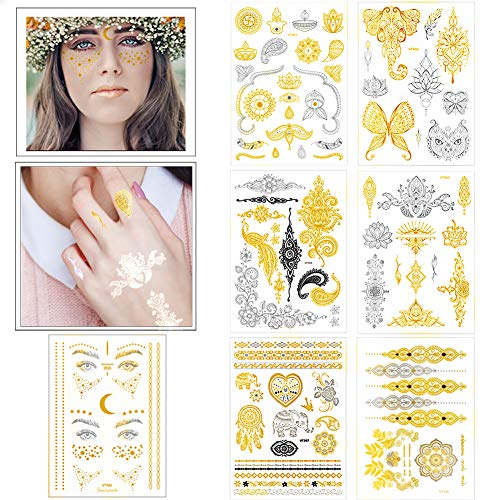 Flash Temporary Tattoos Large Yoga Metallic Gold Face