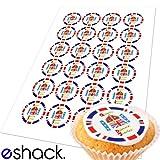 Cakeshop 24 x Queen Elizabeth Diamond Jubilee Logo Edible Cake Toppers