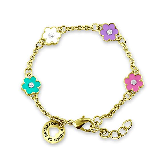 Flower Charm Bracelet 14k Gold Plated Adjustable Bracelets For Women With Flower Charms - Flower Jewelry For Teens And Small Wrist Bracelets For Women - Hand Painted Flower Charms Jewelry for Easter