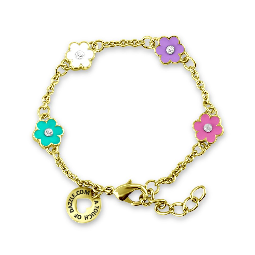 A Touch of Dazzle Little Girl Bracelets Flower Jewelry 18 K Gold Plated Bracelets for Girls | Jewelry for Girls | Toddler Jewelry for Girls, Little Girl Bracelets - Fine Girls Jewelry