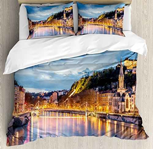 Lyon Bedroom Set (European Duvet Cover Set King Size by Ambesonne, View of Saone River in Lyon City at Evening France Blue Hour Historic Buildings, Decorative 3 Piece Bedding Set with 2 Pillow Shams, Multicolor)