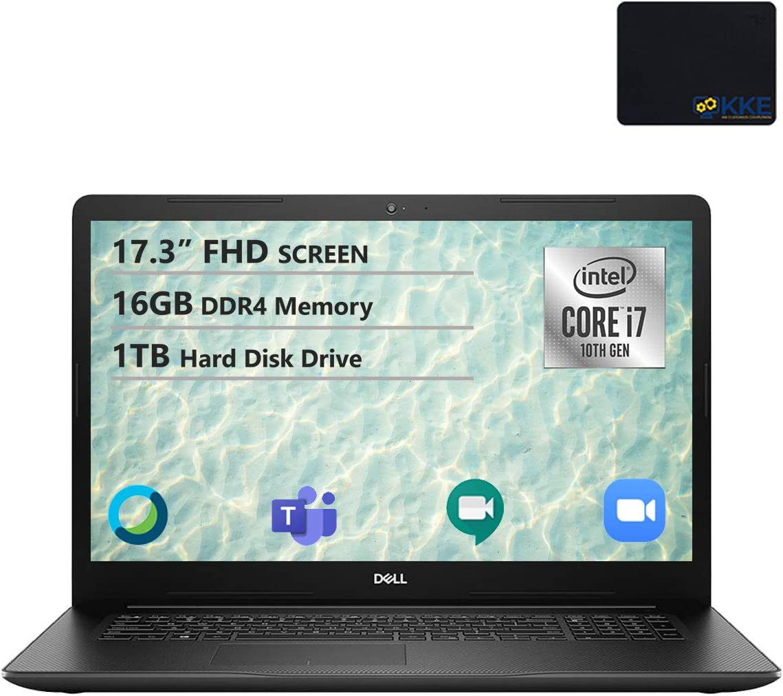 Dell 2020 Inspiron 17.3'' FHD Laptop, Intel i7-1065G7, 16GB DDR4 Memory, 1TB HDD, HDMI, WiFi, Webcam, DVD Drive, Black, KKE Mouse Pad, Win 10 Home