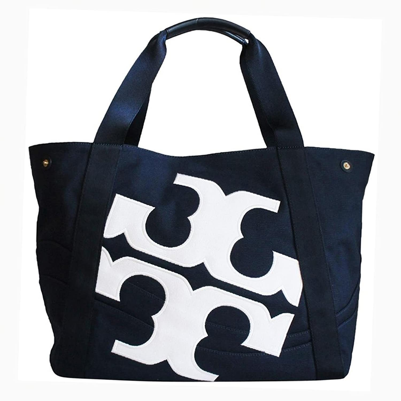 トリーバーチ バッグ トートバッグ キャンバス ビーチ ロゴ バッグ Tory Burch Beach Logo Navy Canvas Tote Bag [並行輸入品] B07DMCDKJN