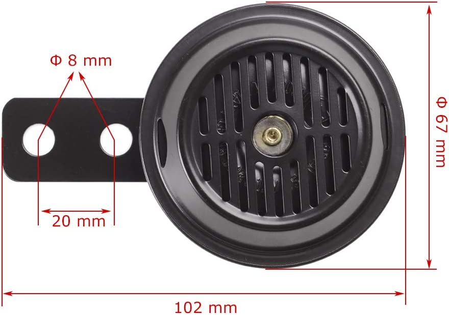 Evermotor Universal 12V Horn 105dB for Scooters Mopeds ATVs and Motorcycles Waterproof E-MARK