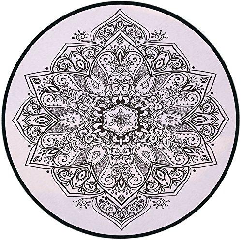 Printing Round Rug,Mandala,Asian Psychedelic Circular Element Lotus Ethnic Medallion Yoga Eastern Culture Mat Non-Slip Soft Entrance Mat Door Floor Rug Area Rug For Chair Living Room,Black - Entrance Eastern