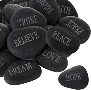 Barelove 12pcs DIY Rocks for Engraved Inspirational Polished River Stones Unique and Thoughtful Gift Ideas for Friends Arts and Crafts (12 Different Words) (Black)