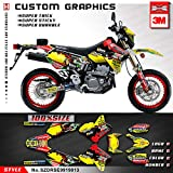 Kungfu Graphics Castrol Custom Decal Kit for Suzuki DRZ 400 SM Supermoto 1999 2000 2001 2002 2003 2004 2005 2006 2007 2008 2009 2010 2011 2012 2013 2014 2015 2016 2017 2018 2019, Red Yellow Black