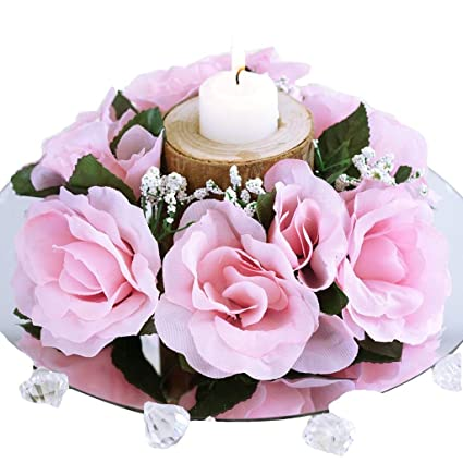 c413cfbc37df3c Amazon.com: BalsaCircle 8 Pink Silk Roses Candle Rings - Artificial Flowers  Wedding Party Centerpieces Arrangements Bouquets Supplies: Home & Kitchen