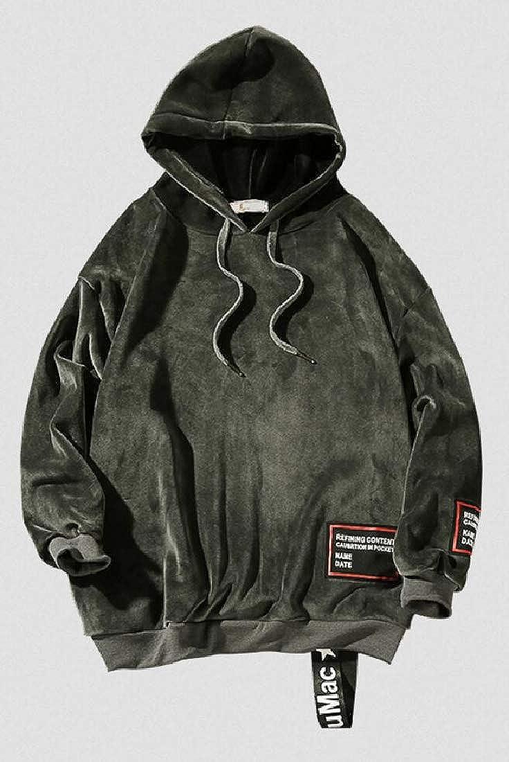 Qiangjinjiu Mens Warm Loose Fit Velvet Long Sleeve Sweatshirts Hoodies