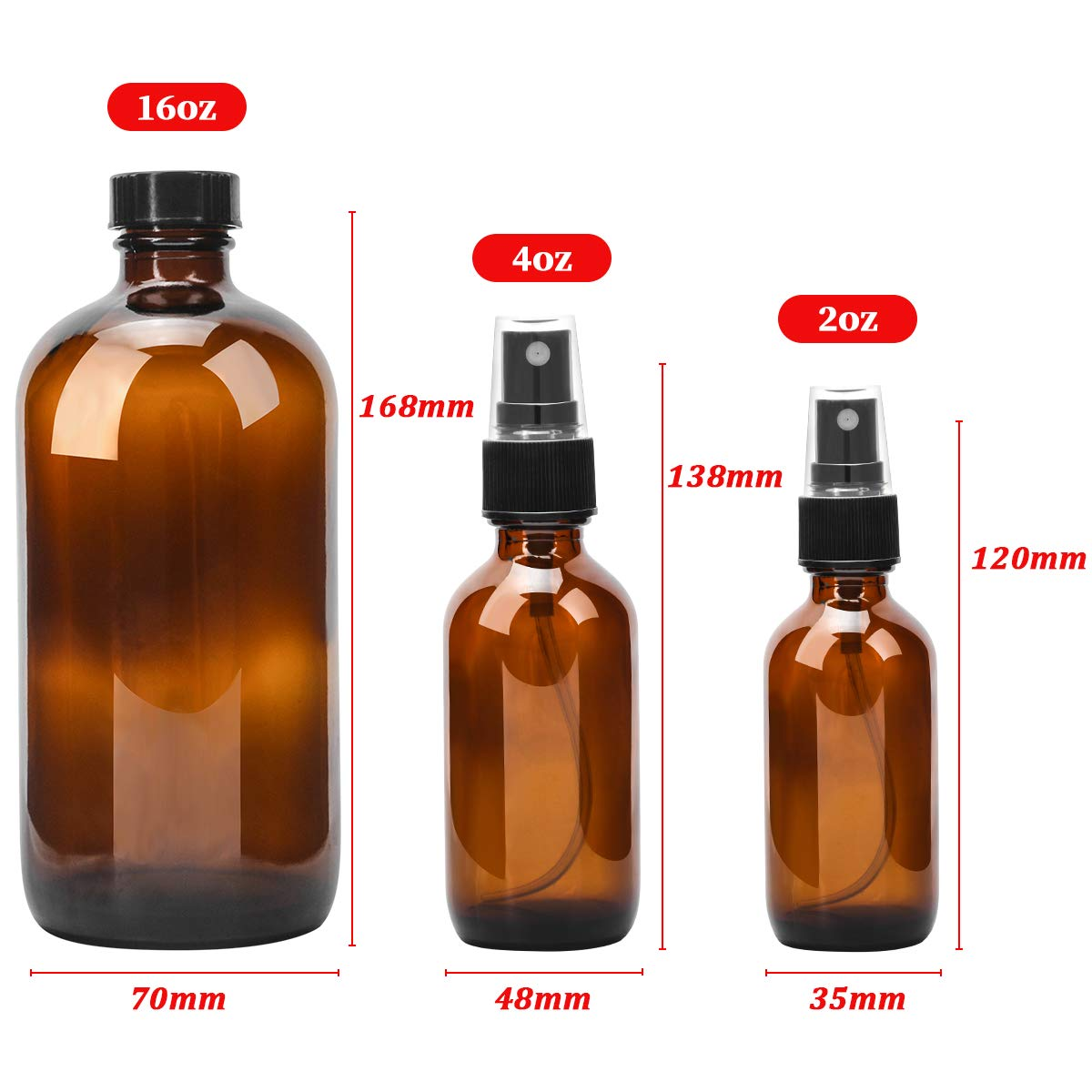 Glass Spray Bottle, ESARORA Amber Glass Spray Bottle Set For Essential Oils - Cleaning Products - Aromatherapy (16OZ x 2, 4OZ x 2, 2OZ x 4) by Esarora (Image #4)