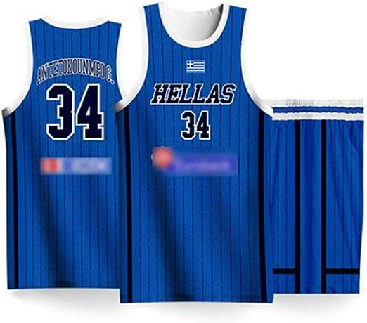 Camiseta para hombre Antetokounmpo # 34 Grecia equipo, camiseta de ...
