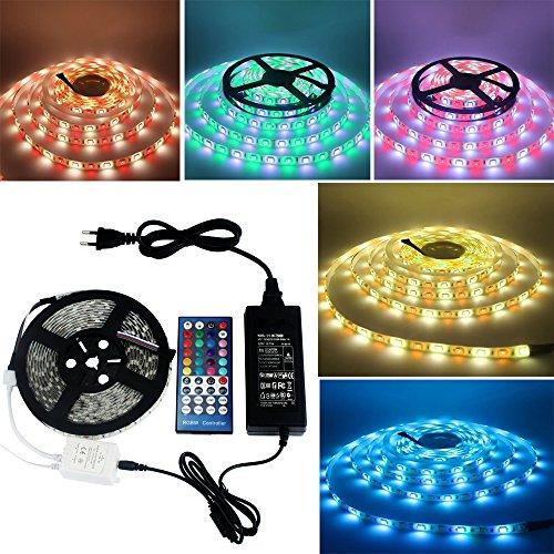LED Strip RGBW 5M 300 LEDs Led Band 5050 SMD Mehrfarbig viele Funktionen Wasserdicht IP65 +IR 40 Tasten Fernbedienung und 12V5A Netzteil