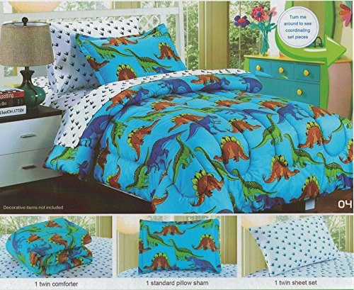 Twin Comforter Set, Kids Comforter Set, Children's 5Pc Set, Boy & Girl, 1 Fitted Sheet, 1 Flat Sheet, 1 Pillowcase, Breathable, Hypo-Allergenic, Comfortable, Ultra Soft, By Big 7 Home