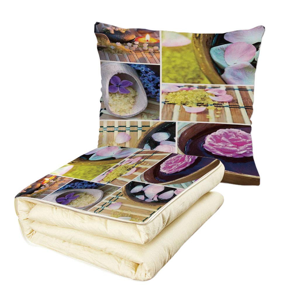 iPrint Quilt Dual-Use Pillow Spa Spa Organic Cosmetics Theme Wooden Bowl Petals Lavender Candle Pebbles Therapy Oil Multifunctional Air-Conditioning Quilt Purple Brown