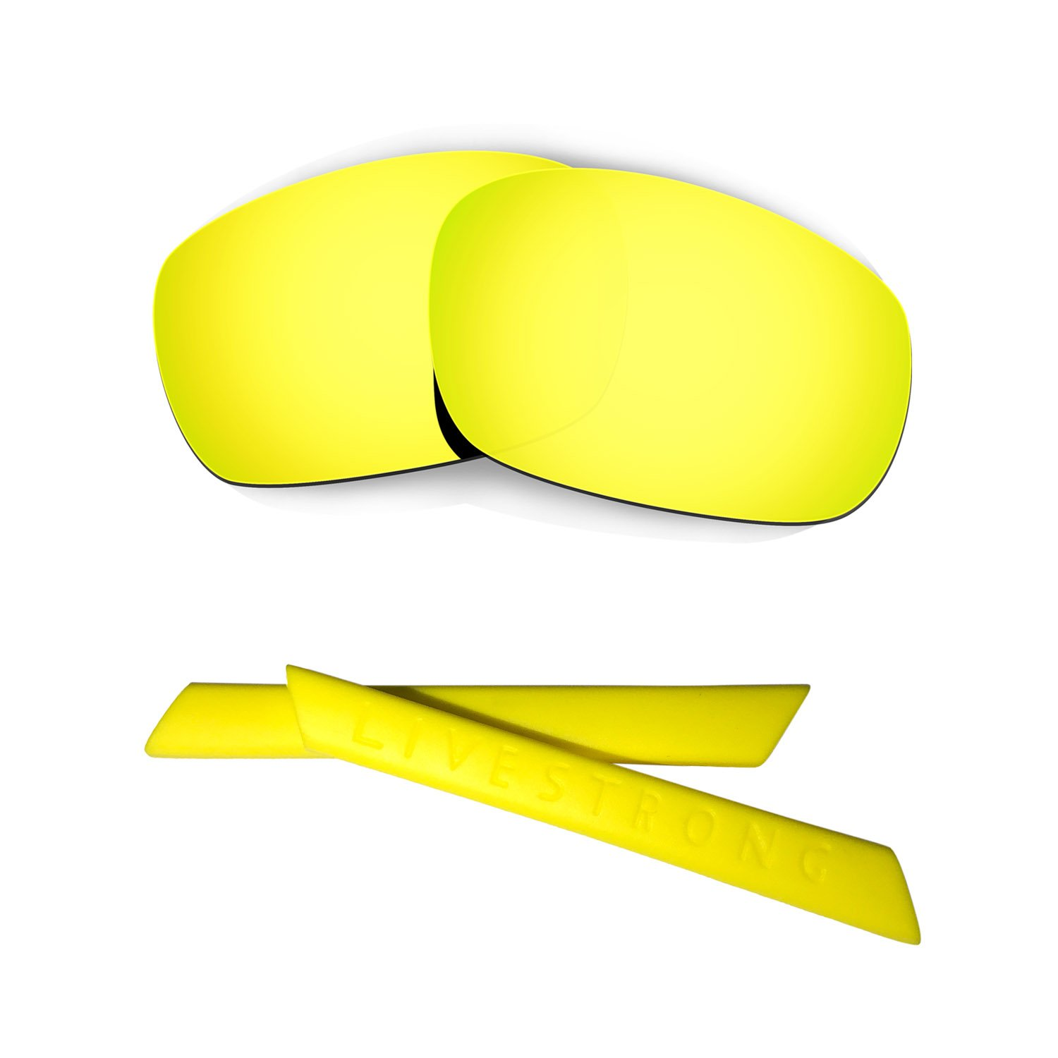 HKUCO 24K Gold Polarized Replacement Lenses plus Yellow Earsocks Rubber Kit For Oakley Racing Jacket