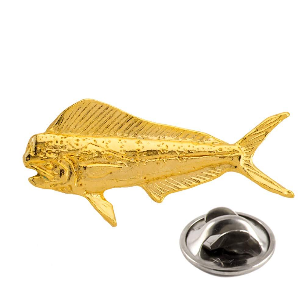 Creative Pewter Designs Dorado Fish 22k Gold Plated Mini Lapel Pin, Brooch, Jewelry, SG005MP