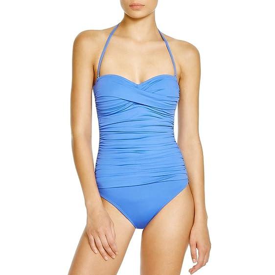 ca23d7c9b7 Image Unavailable. Image not available for. Color  La Blanca Swimsuit  Ruched Bandeau One-piece Swimsuit Periwinkle